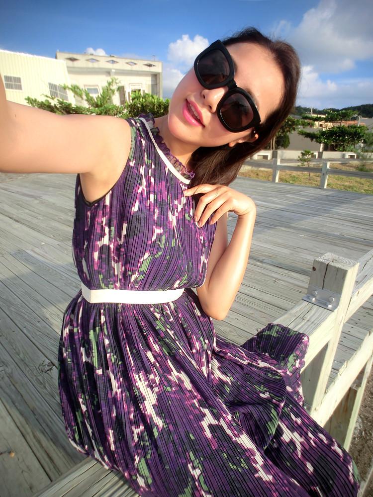Am ss13 senior limited edition purple fashion design print long one-piece dress top version