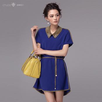 2013 short-sleeve turn-down collar gem blue chiffon one-piece dress fashion high quality