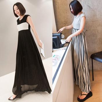Small fashion one-piece dress pleated chiffon long patchwork skirt 0611
