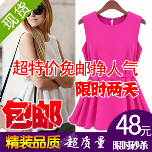 2013 summer women's fashion formal ol knitted chiffon pleated short design one-piece dress small short skirt