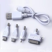 white 4 in 1 multi Micro USB Power bank Charging cable for Nokia for Apple for samsung charging adapter