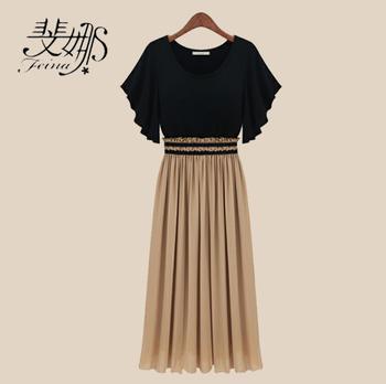 Fashion plus size one-piece dress mm 2013 women's slim waist chiffon one-piece dress full dress