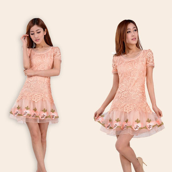 One-piece dress summer slim floral print medium skirt short-sleeve lace cutout one-piece dress fashion