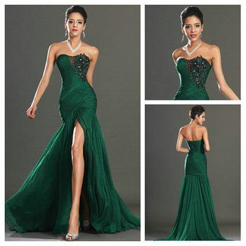 New Style 2013 Mermaid Black Embroidery Dark Green Chiffon Real Evening Dress