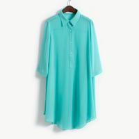 Free shipping Hot-selling fashion vintage turn-down collar long loose shirt design half sleeve chiffon shirt summer
