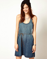 Retail 2013 Summer New Women Fashion Sleeveless Pure O-Neck Soft Denim Skirt,Succinct Dress,S/M/L,Free Shipping0529266