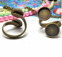 5PCS Antiqued bronze double 10mm cabochon settings Rings #23006