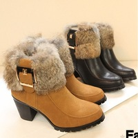 Winter 2013 rabbit patchwork nubuck leather thick heel medium hells shoes ankle boots snow boots