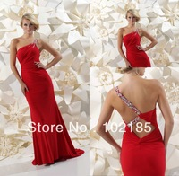 Best Selling glamous one shoulder satin court train prom dress JPD039