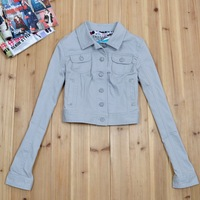 2014 Spring and autumn female limited design long-sleeve grey short outerwear denim top jacket