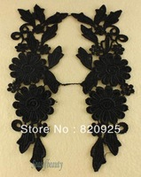 2 Pairs Black Flower Floral Motif Venise Venice Lace Trim Costume Sewing Craft