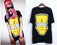 Fashion Me AA-017 2013 Fashion simpson shirt women cartoon t shirt The cross head loose short simpson t shirt Free shipping