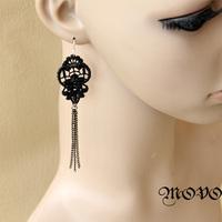 Winter series black lace long tassel designer earrings women drop earring 020