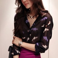 2013partysu spring and summer print ladies turn-down collar thin chiffon long-sleeve shirt 6038  mlcq
