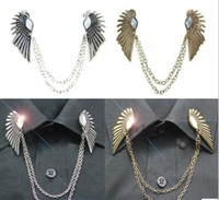 Min. order $9 (mix order) Fashion vintage diamond wings of the collar chain brooch