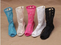 New Women Cool Boots Lace Lace Short Hollow out hook flower drum fish mouth boots