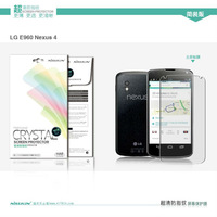 Genuine NILLKIN Crystal Clear LCD Screen Protector Protective Film For  LG Google Nexus 4 E960 W/ Retail Package Simple Version