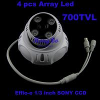 Hot sale! security Effio-e sony ccd 700tvl  4 pcs Array LED cctv dome camera, IR 20-35m  free shipping