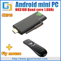 Free T2 air mouse CX919 Mini PC Quad Core RK3188 Android TV Dongle 1.6GHZ 1GB RAM 8GB ROM HDMI WiFi Bluetooth Freeshipping