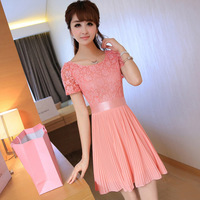 2013 slim plus size clothing pleated skirt lace short-sleeve chiffon one-piece dress