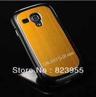 DHL Free shipping Luxury Brushed Aluminum Hard case for Samsung Galaxy S3 Mini i8190 hybrid back cover 50pcs/lot