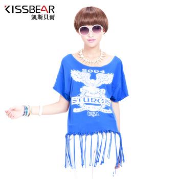 Gentlewomen loose plus size clothing T-shirt summer short-sleeve print tassel sweep long design t-shirt top