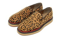 Free shipping wholesale 2013 latest spike Soled  leopard full nails men sports casual shoes 612 sneakers EUR size 39-46
