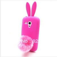 DHL Free shipping Lovely Cute Bunny TPU Skin Rabbit Soft Holder Stand Back Case Cover for Samsung Galaxy S3 Mini i8190 50pcs/lot