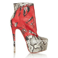 SnakeSkin High Platform Ankle Boots,2013 Women High Heel Boots