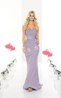 Wholesale 2014 New High Quality Custom Made Adult A-Line Sweetheart Floor-Length Pleat Chiffon Purple Bridesmaid Dresses Gowns