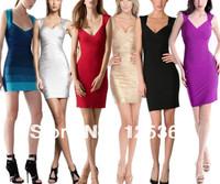 Wholesale Celebrity Cap Sleeve Metallic Crisscross Backless Bandage Dress 16 colors Dropshipping