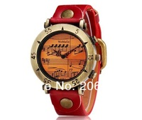 NEW WOMAGE 568-1 Women's Musical Note Round Dial Analog Display Wrist Watch(Blue,red,white,orange)wristwatches+free shipping