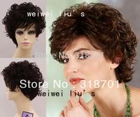 Capless 100% Human Hair Dark Brown Curly Short Wig  free shipping