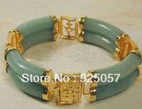 "GREEN CHINESE JADE BEAD BRACELET 7.5"" AAAFashion jewelry"