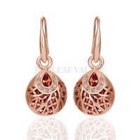 18K Rose Gold Plated Bird Nest Shape Earrings With Rhinestone Fashion Jewelry Hot Sell Women Girl birthday Gift Present