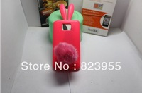DHL Free shipping Secnart Bunny Rabito Rubber Skin Case Cover For Samsung Galaxy S2 I9100 Rabbit 50pcs/lot