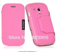 DHL Free shipping Fashionable Stylish Flip PU Leather Stand Cover Case for Samsung Galaxy S3 Mini i8190 50pcs/lot
