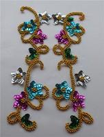 sewing sequin trims, gold applique,embroidery patches, paillette beads cravat corsage