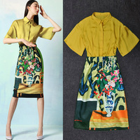 New In 2013 Designer Brand Fashion Women  Retro Art Colorful Flower Vase Printed Slim Skirts +Silk Blouses Two-piece Set SS13160