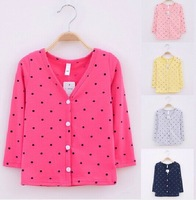 Retail 1 pcs children spring jackets cardigan baby girls Fashion long sleeve t-shirts sweater with bow High quality CC0223