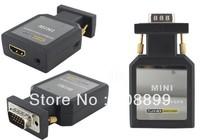 Freeshipping Mini HDMI TO VGA + YPBPR switch HDMI TO VGA YPBPR SPDIF audio and 3.5 mm