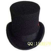 2014 Black 100% Wool fedoras Royal president hat magic hat 16cm Height TOP HAT felt chapeau casquette