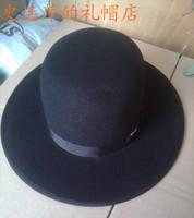 100% Wool Flet fedora hat Black large brim gentleman hat fashion ladies' luxurious chapeu casquette woolen hat