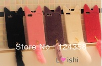Wholesale New Luxury Cute  fashion Plush Cat hard BACK skin Case cover for iPhone 4 4G 4S .