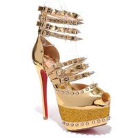 Ladies High Platform Fashion Pumps,16CM Golden Rivet Sexy High Heels