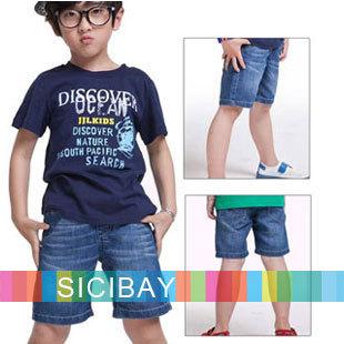 Kids Denim Blue Trousers Big Boy Summer Clothes New Arrival Boys Fashion Shorts,Free Shipping Hot Sale  K1174
