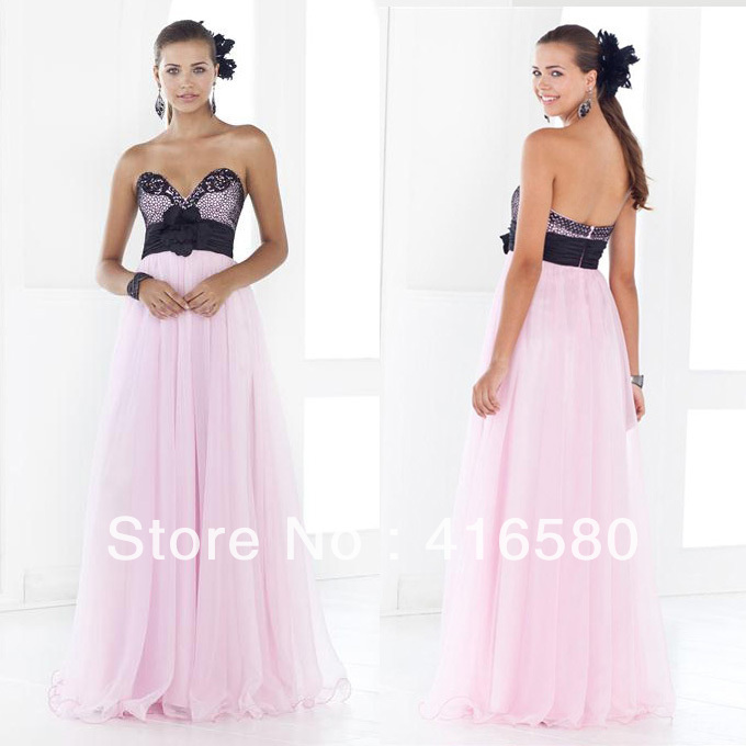 Black and Pink Sweetheart neckline Lace Bodice with Hand Made flower Empire Waist Floor Length Prom Dresses(China (Mainland))