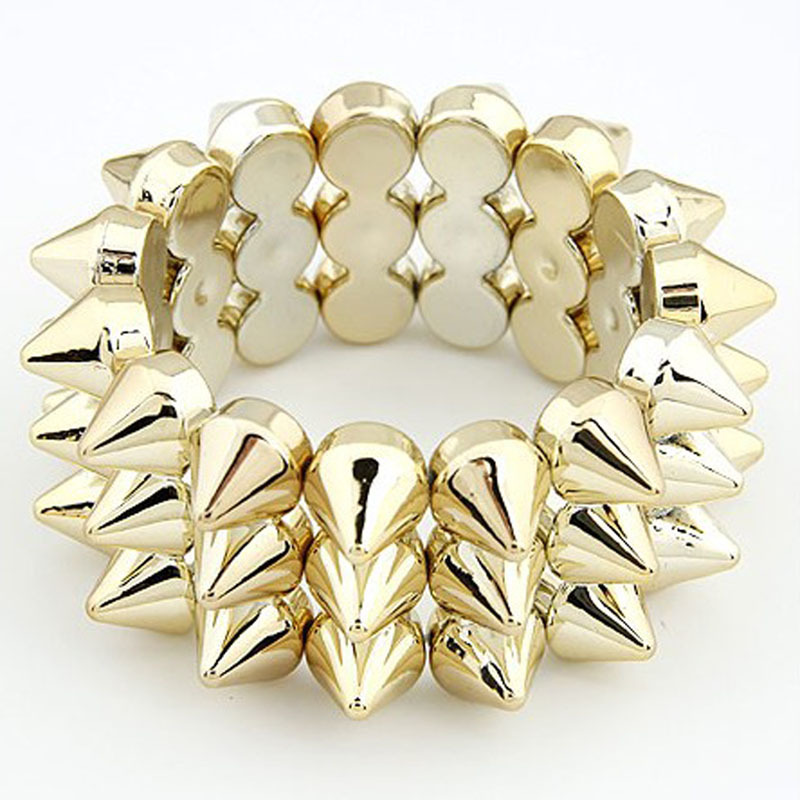 Fashion street style elastic bracelet 3 elastic rivet bracelet triangle bracelet(China (Mainland))