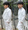 Child tuxedo /boy's dovetail suit/ flower boy formal cloth/ white silver tuxedo(China (Mainland))