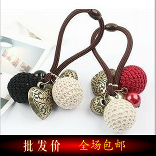 Minimum Order is $15 Vintage heart yarn ball hair rope headband female(Hong Kong)
